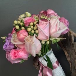 Νυφικό Μπουκέτο Γάμου Αποχρώσεις Ροζ Λιλά Σομόν
