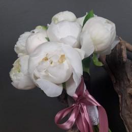 Νυφικό Μπουκέτο Γάμου Λευκές Παιώνιες