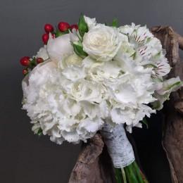 Νυφικό Μπουκέτο Γάμου Ορτανσία Παιώνια Κόκκινο Υπέρικουμ