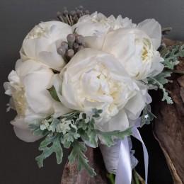 Νυφικό Μπουκέτο Γάμου Λευκές Παιώνιες Silver Brunia Dusty Miller