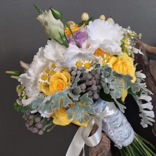 Νυφική Ανθοδέσμη Γάμου Ορτανσία & Λουλούδια Αγρού