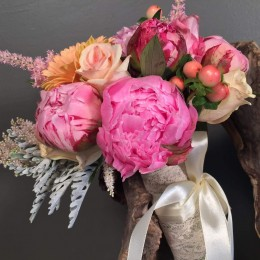Νυφικό Μπουκέτο Ροζ Φούξια Σομόν Λουλούδια
