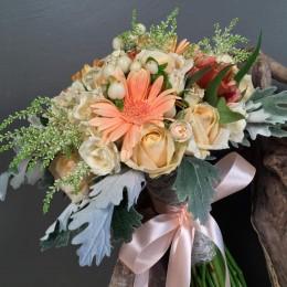 Νυφική Ανθοδέσμη Γάμου Αποχρώσεις Σομόν-Ιβουάρ
