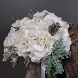 Νυφικό Μπουκέτο Λευκή Ορτανσία Silver Brunia Dusty Miller