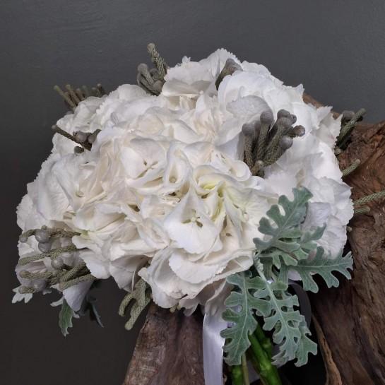 Νυφική Ανθοδέσμη Γάμου Λευκή Ορτανσία Silver Brunia Dusty Miller