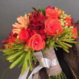 Νυφικό Μπουκέτο Πορτοκαλί Σομόν Κόκκινα  Λουλούδια