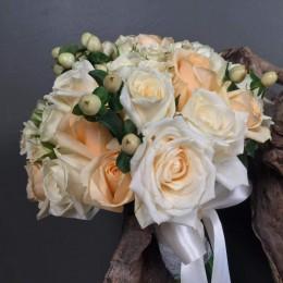 Νυφικό Μπουκέτο Γάμου Λευκά Σομόν Τριαντάφυλλα Υπέρικουμ