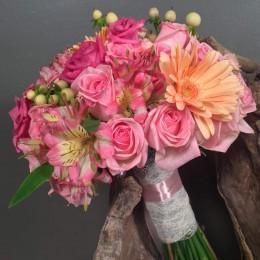 Νυφική Ανθοδέσμη Ροζ Φούξια Λεπτομέρεια Σομόν
