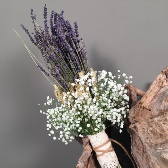 Νυφική Ανθοδέσμη Γάμου Λεβάντα & Στάχυα Γυψοφύλλη