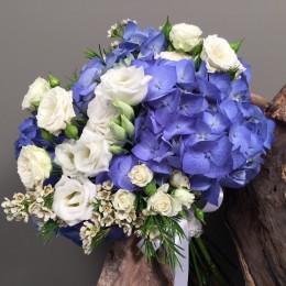 Νυφική Ανθοδέσμη Γάμου Μπλε Ορτανσίες Λευκό Λυσίανθο Μίνι Wax