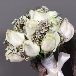 Νυφική Ανθοδέσμη Γάμου Λευκά Τριαντάφυλλα & Wax