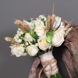 Νυφική Ανθοδέσμη Γάμου Λευκά Τριαντάφυλλα Υπέρικουμ Αλστρομέρια Στάχια
