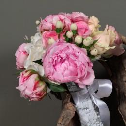 Νυφική Ανθοδέσμη Γάμου Παιώνιες Ορτανσία Ροζ-Σομόν Τριαντάφυλλα