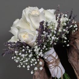 Νυφική Ανθοδέσμη Γάμου Λεβάντα Αποξηραμένη Λευκά Τριαντάφυλλα Γυψοφύλλη