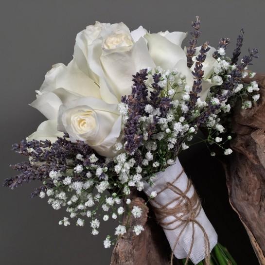 Νυφικό Μπουκέτο Γάμου Λευκά Τριαντάφυλλα Silver Brunia Γυψοφύλλη