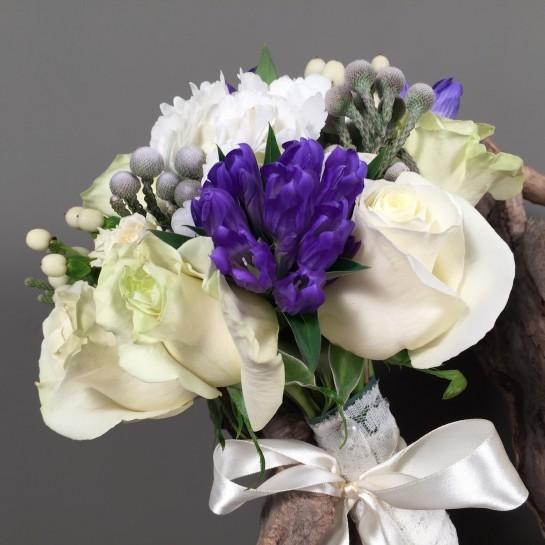 Νυφικό Μπουκέτο Γάμου Ορτανσία Τριαντάφυλλα Μίνι Υπέρικουμ Γεντιανή & Silver Brunia