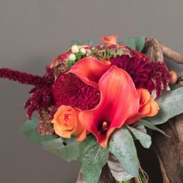 Νυφική Ανθοδέσμη Γάμου Υπέρικουμ Ορτανσία Τριαντάφυλλα Κάλες Χρυσάνθεμα