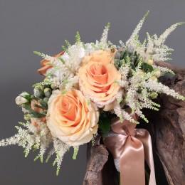 Νυφική Ανθοδέσμη Γάμου Πορτοκαλί Τριαντάφυλλα Ορτανσία Αστίλμπ