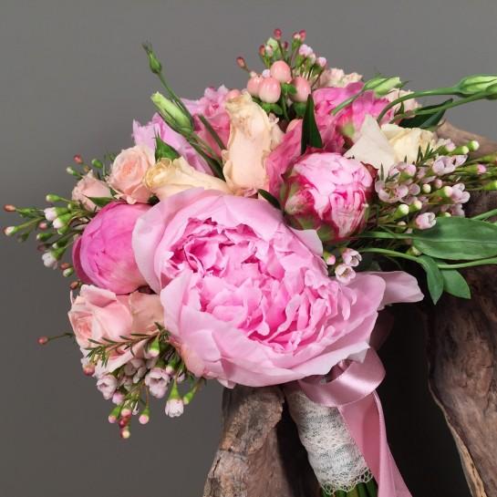 Νυφική Ανθοδέσμη Γάμου Ροζ Παιώνιες Λυσίανθο Σομόν Τριαντάφυλλα Wax
