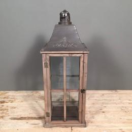 Φανάρι Διακοσμητικό Ξύλινο Καφέ Μεταλλικό Καπάκι 59εκ