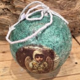 Χριστουγεννιάτικη Μπάλα Vintage Γαλάζια 10εκ