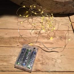 Χριστουγεννιάτικα Λαμπάκια 20 LED Θερμό Φως Σύρμα Μπαταρία