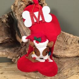 Χριστουγεννιάτικη Κάλτσα Κόκκινη Πλεκτή Σκυλάκι Κόκκαλο