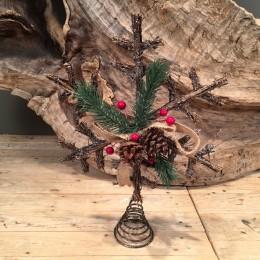 Χριστουγεννιάτικη Κορυφή Δέντρου Νυφάδα Ξύλινη Καφέ 36εκ