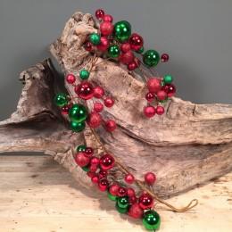 Χριστουγεννιάτικη Γιρλάντα Κόκκινες Πράσινες Πλαστικές Μπάλες 120εκ X