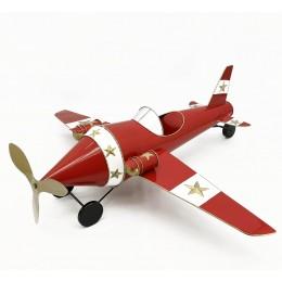 Χριστουγεννιάτικo Διακοσμητικό Μεταλλικό Κόκκινο Λευκό Αεροπλανάκι Αστεράκια 110*39εκ Χ