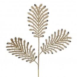 Χριστουγεννιάτικο Κλαδί Χρυσό Φτερό Παγωνιού Στράς 80εκ Χ