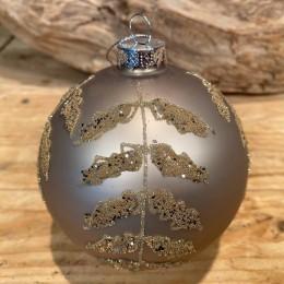 Χριστουγεννιάτικη Μπάλα Γυάλινη Γήινη Φύλλα Χρυσό Γκλίτερ 10εκ