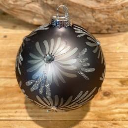 Χριστουγεννιάτικη Μπάλα Γυάλινη Γκρι Ασημένια Φύλλα Γκλίτερ 10εκ