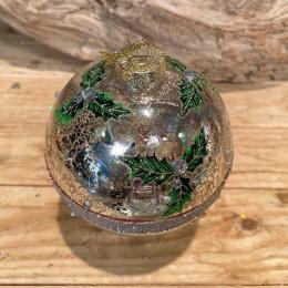 Χριστουγεννιάτικη Μπάλα Γυάλινη Ασημένια Φύλλα Γκι Γραμμή Γκλίτερ 10εκ