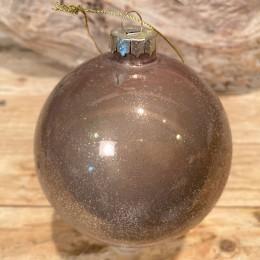 Χριστουγεννιάτικη Μπάλα  Γυάλινη Μόκα Χρυσό Γκλίτερ 10εκ