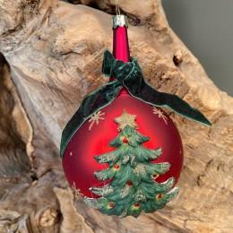 Χριστουγεννιάτικo Στολίδι Γυάλινη Κόκκινη Μπάλα Δεντράκι Λαιμό Πράσινη Κορδέλα 16εκ