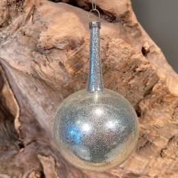 Χριστουγεννιάτικo Στολίδι Γυάλινη Μπάλα Ασημί Γκλίτερ Λαιμό 13εκ