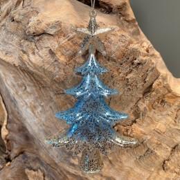 Χριστουγεννιάτικo Στολίδι Πλαστικό Δεντράκι Μπλε Χρυσό Γκλίτερ 14εκ Χ
