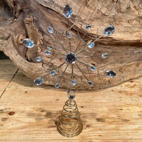 Χριστουγεννιάτικo Στολίδι Κορυφή Δέντρου Νιφάδα Μεταλλικό Χρυσό Διαμαντάκια 20*31εκ