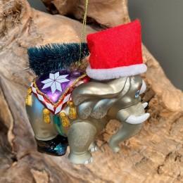 Χριστουγεννιάτικo Στολίδι Γυάλινος Ελέφαντας Τσίρκου 10εκ Χ