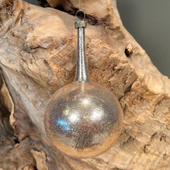 Χριστουγεννιάτικo Στολίδι Γυάλινη Μπάλα Χρυσό Γκλίτερ Λαιμό 13εκ X