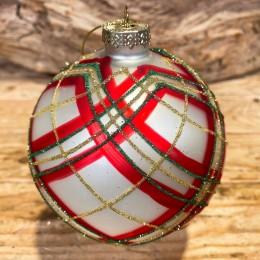 Χριστουγεννιάτικη Μπάλα Γυάλινη Ασημένια Σχέδιο Κόκκινο Πράσινο Χρυσό Γκλίτερ 10εκ