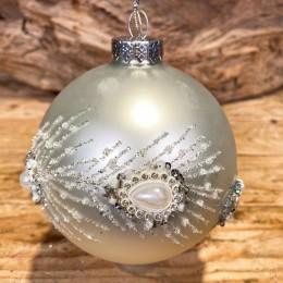 Χριστουγεννιάτικη Μπάλα Γυάλινη Ασημένια Οριζόντια Φτερά Παγωνιού 10εκ