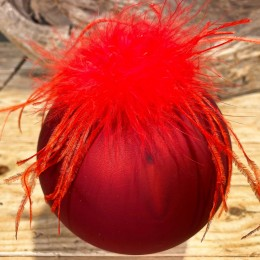 Χριστουγεννιάτικη Μπάλα Γυάλινη Κόκκινη Πούπουλα Κόκκινα 10εκ
