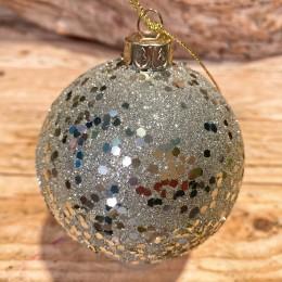 Χριστουγεννιάτικη Μπάλα Γυάλινη Ασημένια Γκλίτερ 8εκ