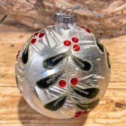 Χριστουγεννιάτικη Μπάλα Γυάλινη Ασημένια Κλαδιά Γκι Κόκκινα Στρας 10εκ