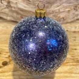 Χριστουγεννιάτικη Μπάλα  Γυάλινη Μπλε Παγωμένη 10εκ