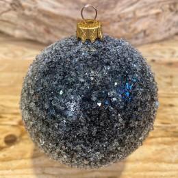 Χριστουγεννιάτικη Μπάλα  Γυάλινη Μαύρη Παγωμένη 10εκ