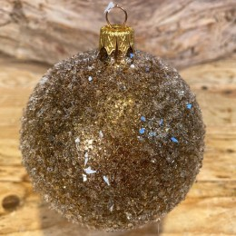 Χριστουγεννιάτικη Μπάλα  Γυάλινη Χρυσή Παγωμένη 10εκ