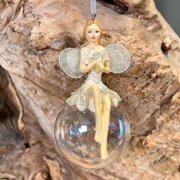 Χριστουγεννιάτικo Στολίδι Γυαλινη Μπάλα Κεραμικός Άγγελος 6*12εκ